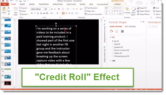 powerpoint credit roll effect
